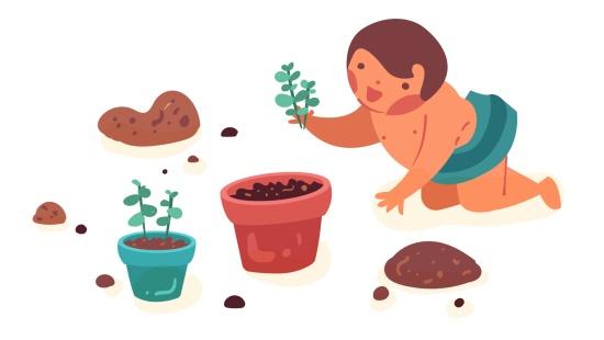 O jardim de chás: brincadeiras com bebês potencializando o tato