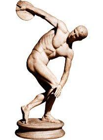 No discóbolo de Myron, um ideal olímpico da Grécia Antiga: o corpo nu é mais ágil, forte e próximo dos deuses. Foto: Gianni Dagli/Stock Photos