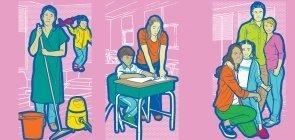 Ilustração de professores em diferentes situações