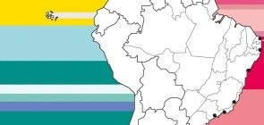 Mapa focado no Brasil, com faixas coloridas com variações de rosa
