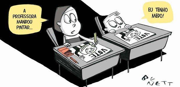 Educação como moeda de troca em ano de eleição. Ilustração: Benett