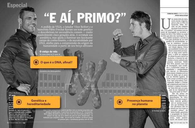 Vitor Belfort e Fábio Porchat, primos por semelhança geneetica. Foto: Reprodução Veja
