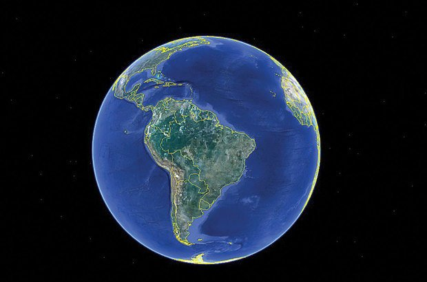 O primeiro passo do trabalho foi apreciar o planeta inteiro e depois o continente americano. Google Earth