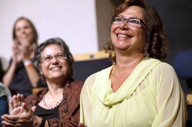 A coordenadora pedagógica da Fundação Victor Civita durante a cerimônia do Prêmio Victor Civita