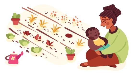 Jardim de chás: brincadeiras com bebês e famílias