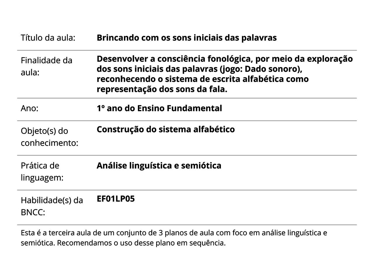 Plano De Aula 1º Ano Lingua Portuguesa Brincando Com Os Sons