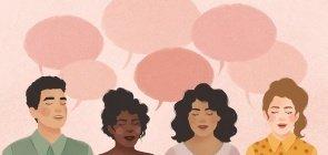 Com fundo rosa, 4 pessoas conversam