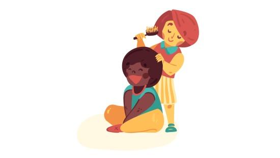Brincando de cuidar dos cabelos