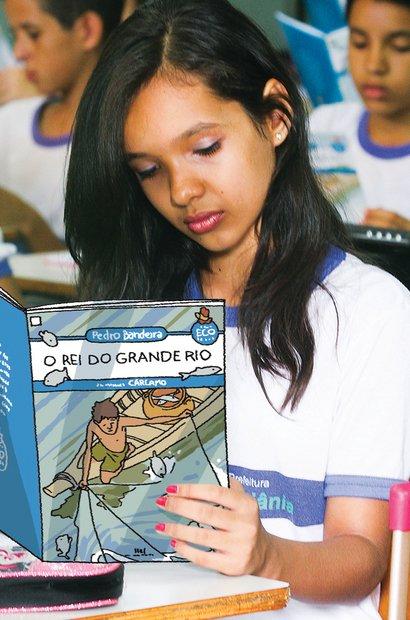 A turma leu textos literários e informativos como parte de um estudo sobre bacias. Foto Marco Monteiro. Ilustração Raphael Salimena