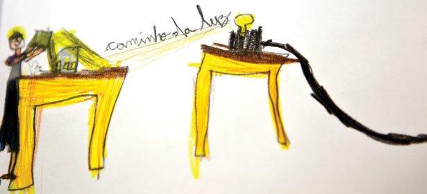 CIÊNCIA ILUSTRADA No desenho de um aluno da Escola Santi, o registro gráfico de uma experiência com propagação de luz. Foto: Fernanda Preto