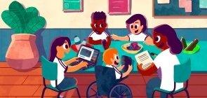 Ilustração de algumas crianças sentadas em uma mesa oval com a professora mexendo em materiais como computador e papéis