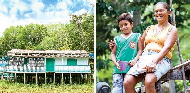 Belizia Campêlo Miranda Cardoso, de Mocajuba, mãe de Dorivaldo e a escola fechada. Fotos: Rafael Araújo