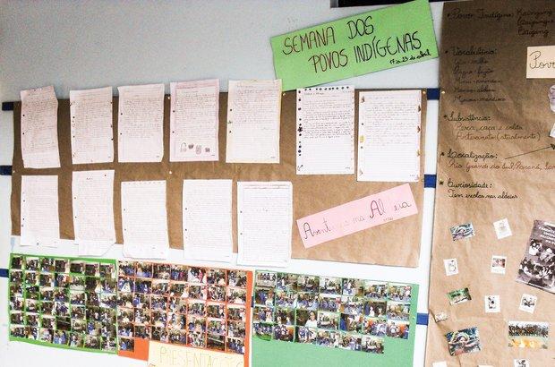 <em>O material produzido e pesquisado sobre a vida dos índios de ontem e de hoje foi exposto em murais da escola.</em> Arquivo pessoal/Cristiele Terhorst