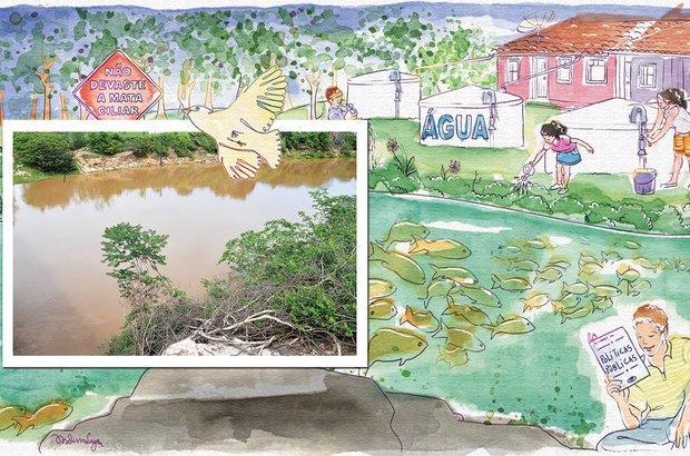 O consumo consciente da água e a preservação da mata ciliar foram citados pelos alunos. Fotos Mateus Andrade/Imagem News. Ilustração Melissa Lagôa