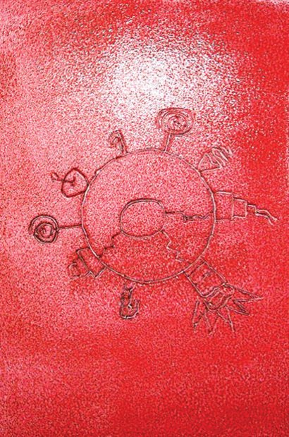 A matriz de isopor é gravada como na xilografia e os sulcos geram a impressão. Arquivo pessoal/Cecília Luiza Etzberger