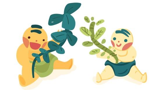 O jardim de chás: bebês sensibilizando o olfato