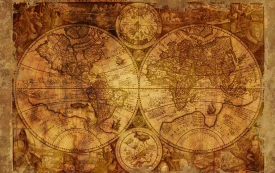 Mapa antigo do globo terrestre