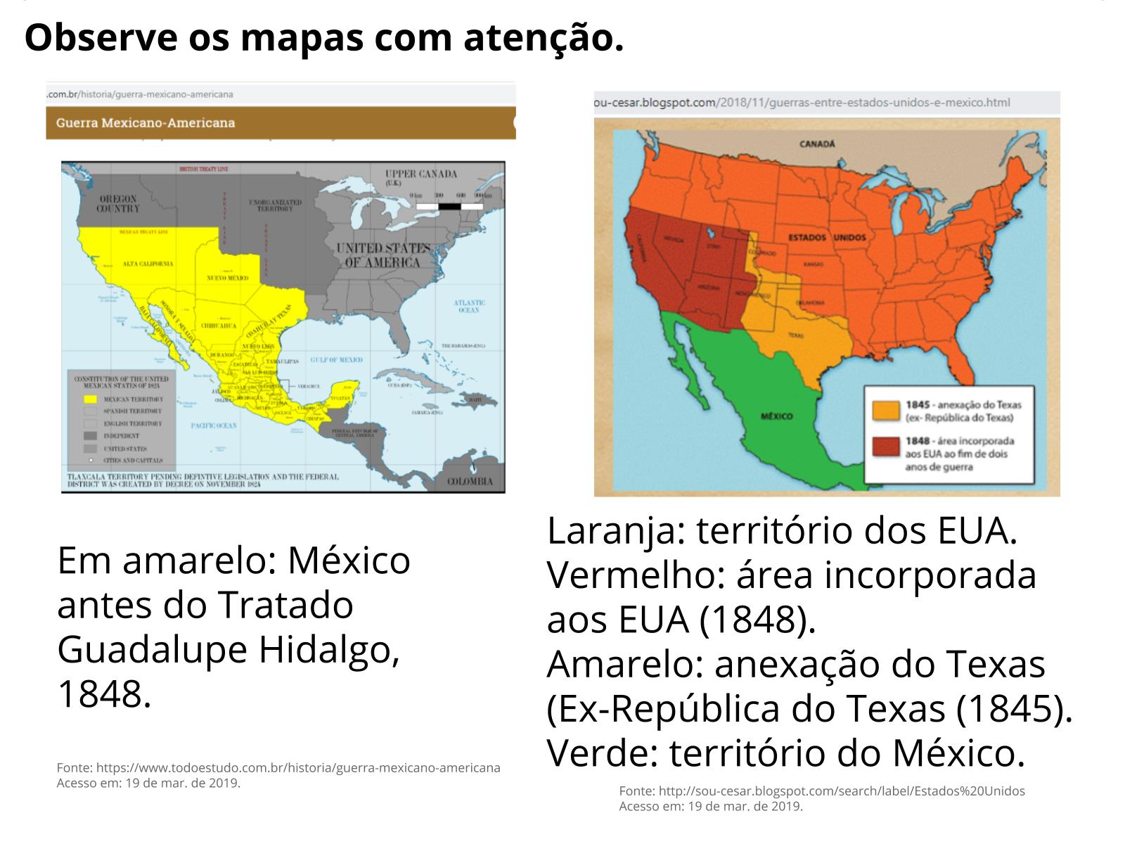 A Doutrina do Destino Manifesto e as anexações dos EUA sobre o México, século XIX