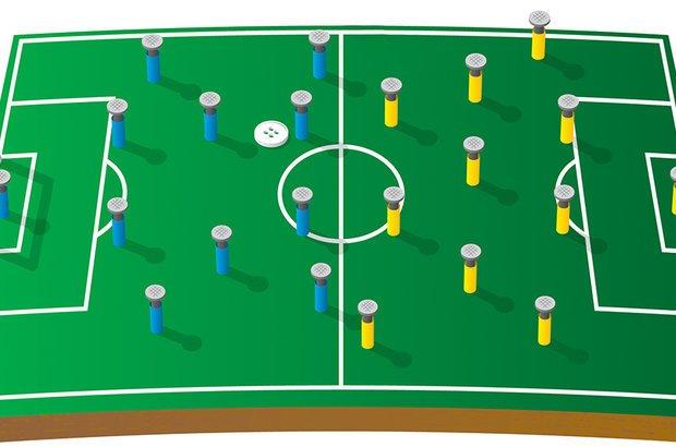 Para montar o dedobol, é preciso pensar como duplicar o tamanho da cópia do campo. Bruno Algarve