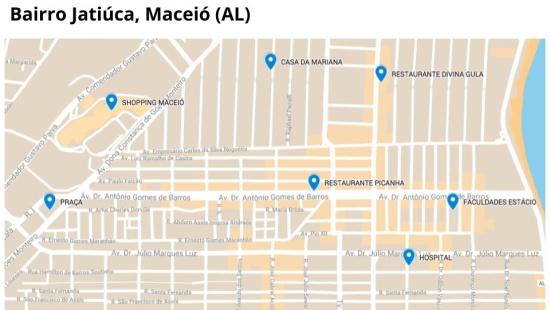 Itinerários no bairro utilizando um mapa e direções cardeais