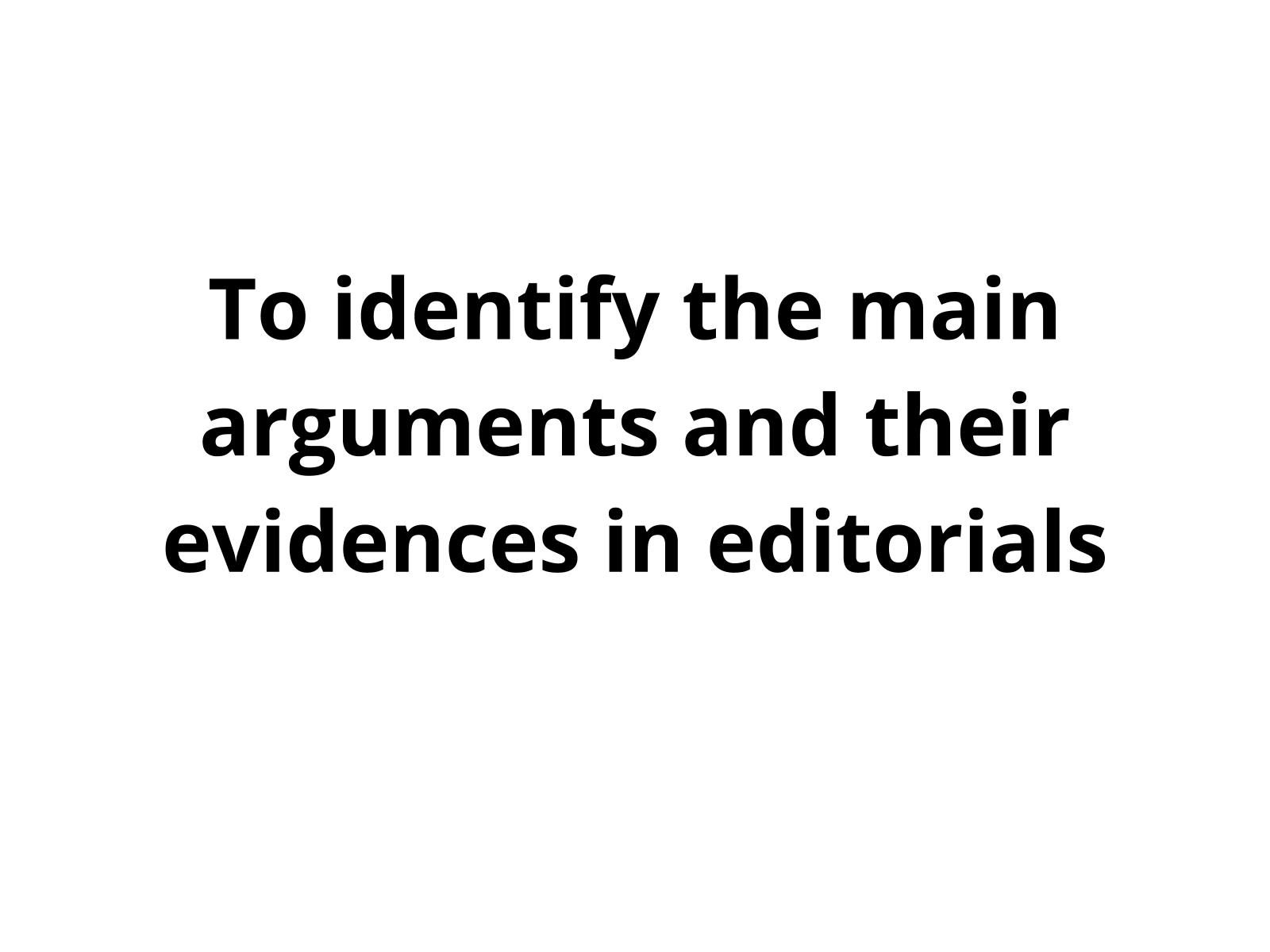 Editorial - Identificar argumentos