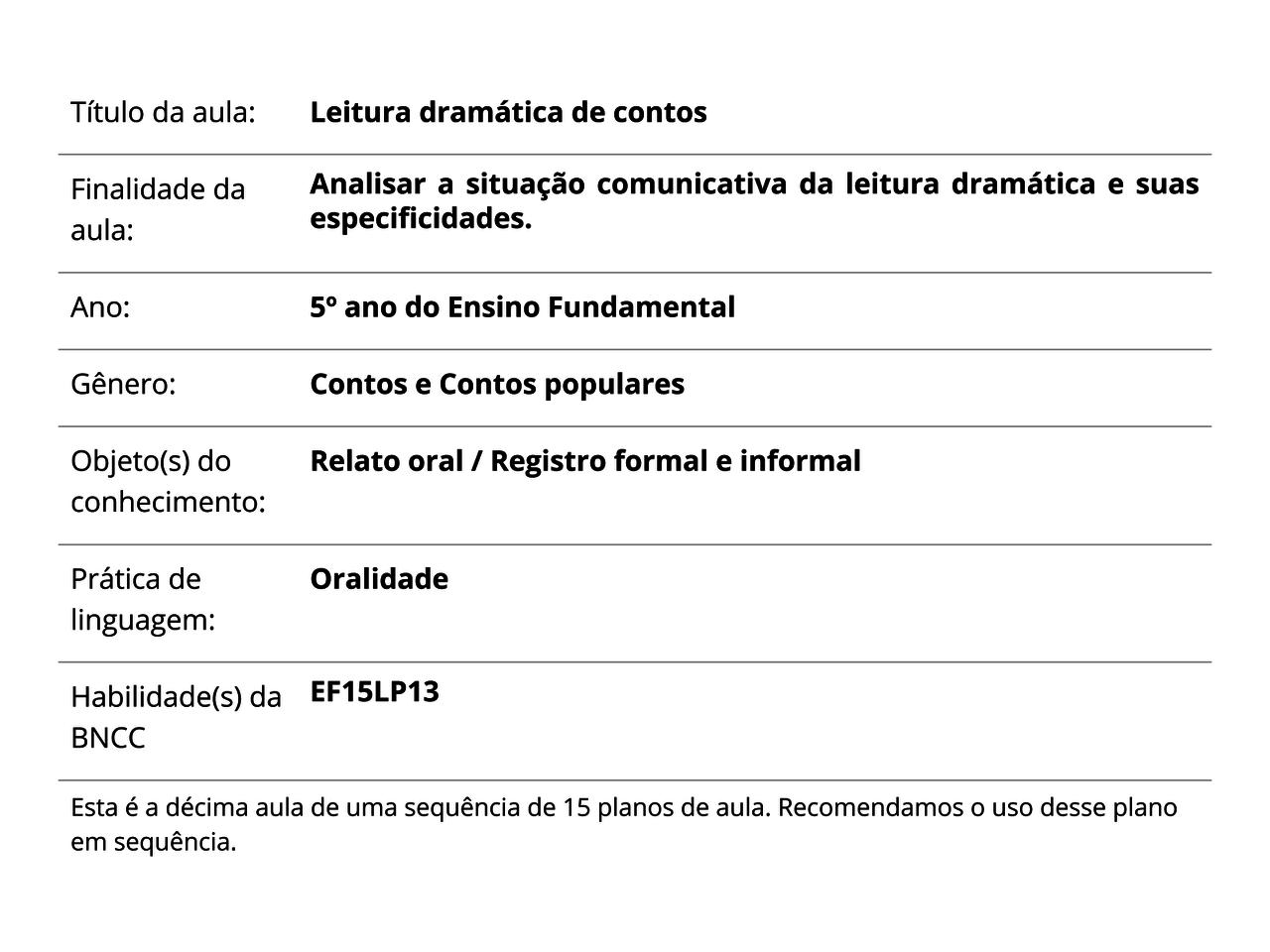 Plano De Aula 5º Ano Lingua Portuguesa Leitura Dramatica De