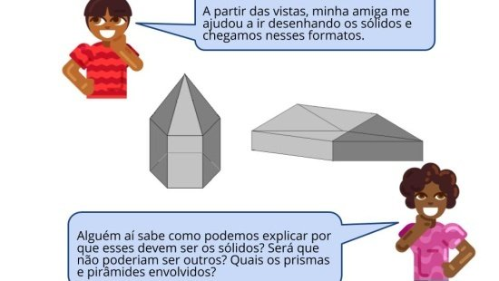 As vistas de prismas e pirâmides