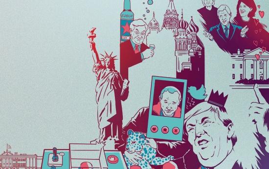 Ilustração com ícones norte-americanos e russos