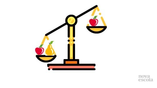 Equivalência com frutas na balança