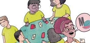 Ilustração de crianças jogando