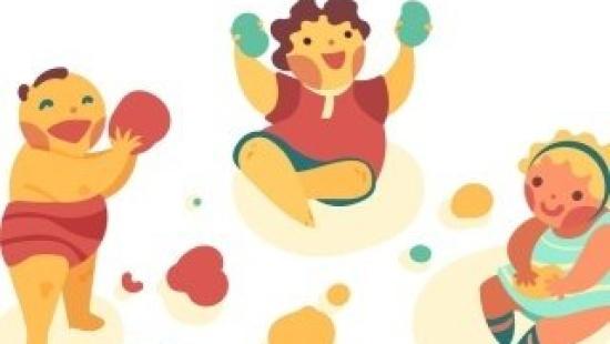Exploração de massas coloridas com bebês
