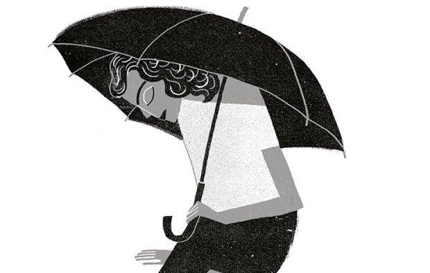 Ilustração em branco e preto, uma menina cabisbaixa, sentada no chão segurando um guarda-chuva,