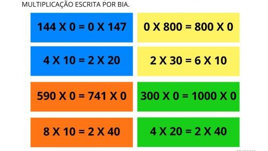 Regularidades na multiplicação por zero