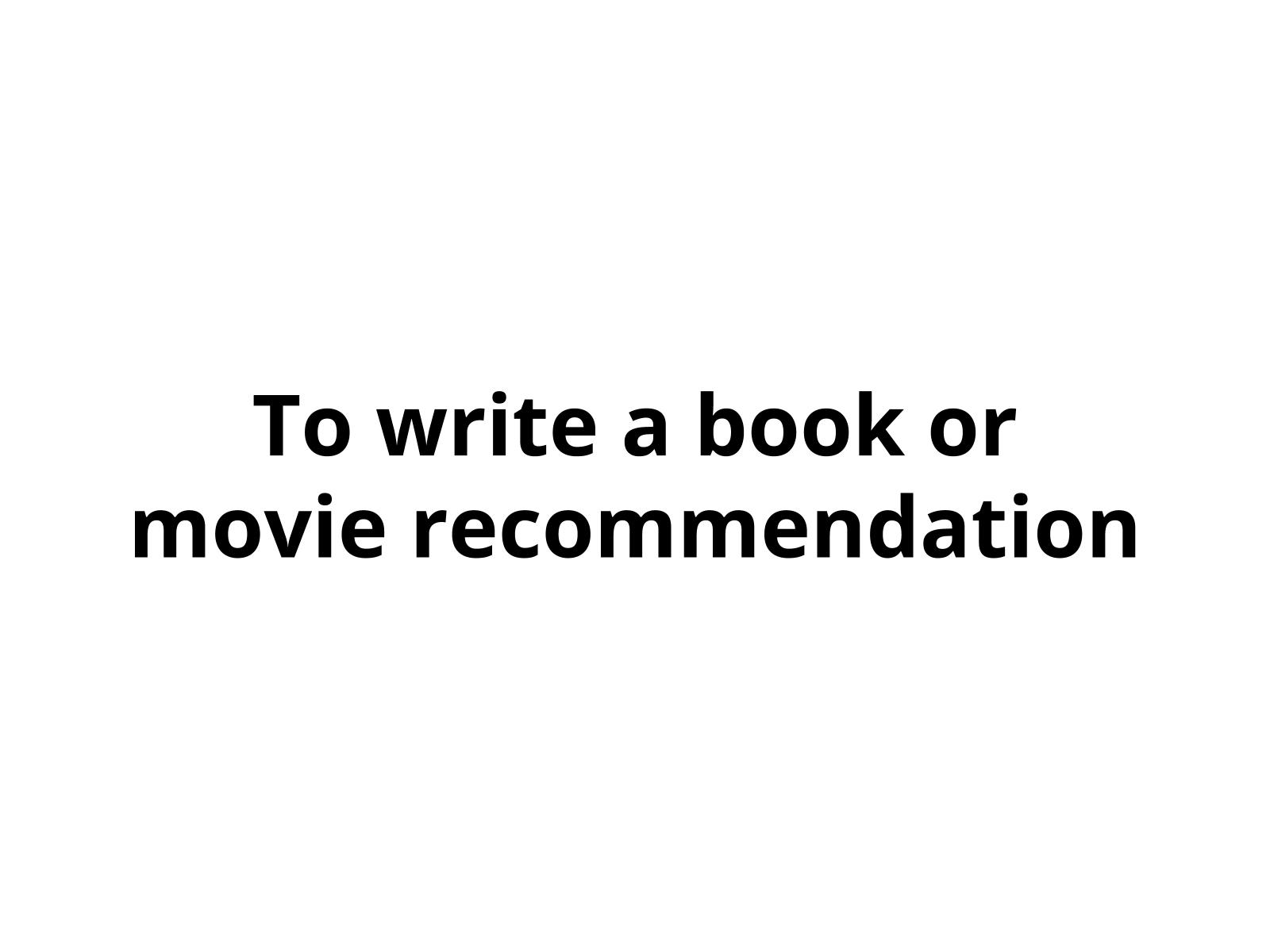 Recomendação de livro ou filme
