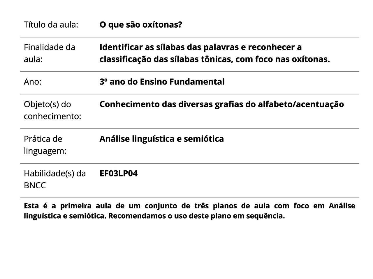 Plano De Aula 3º Ano Lingua Portuguesa O Que Sao Oxitonas