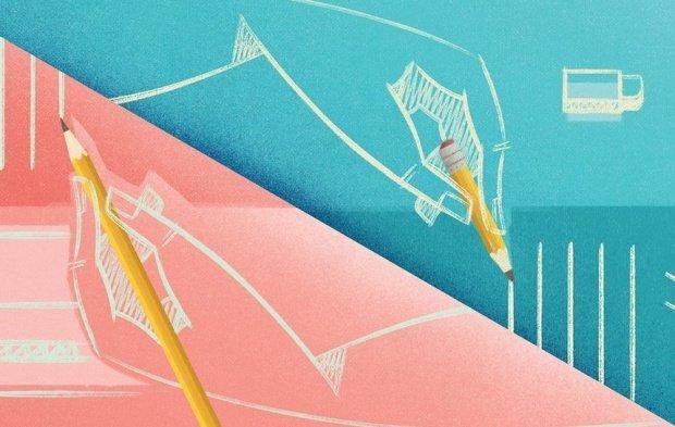Ilustração rosa e azul com duas mãos escrevendo