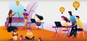 Ilustração de pessoas desempenhando diversas tarefas