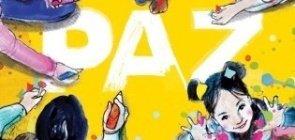Com fundo amarelo, ilustração em aquarela de crianças escrevendo paz no chão. Uma menina olha para cima