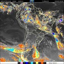 Imagem de satélite mostra uma frente fria no Oceano Atlântico, entre o Rio de Janeiro e o Espírito Santo. Foto: Inpe