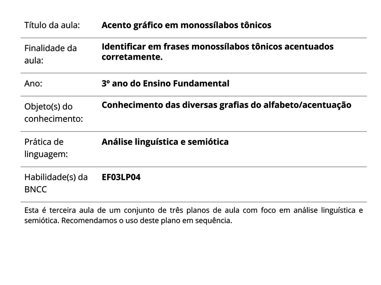 Plano De Aula 3º Ano Lingua Portuguesa Acento Grafico Em