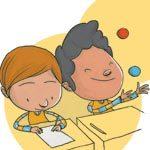 Um aluno termina a tarefa antes dos demais. Ilustração: Pedro Hamdan