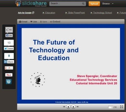 Uma das apresentações sobre o uso de tecnologias na Educação facilmente encontradas no SlideShare. Imagem: Reprodução