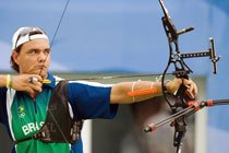 Luiz Gustavo Trainini na competição de Tiro com Arco, realizada no Olympic Green Archery, nos XXIX Jogos Olímpicos de Beijing 2008. Foto: Alaor Filho / Divulgação COB