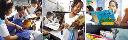 Diário da professora Maria Aparecida de Araújo Silva - Eu ajudo os alunos na escolha do livros e na leitura, sentindo a necessidade de cada um. Aí os meninos passam a escolher livremente o que ler e se espalham pela sala. Consegui, depois dessa atividade, despertar neles a preocupação de cuidar dos volumes
