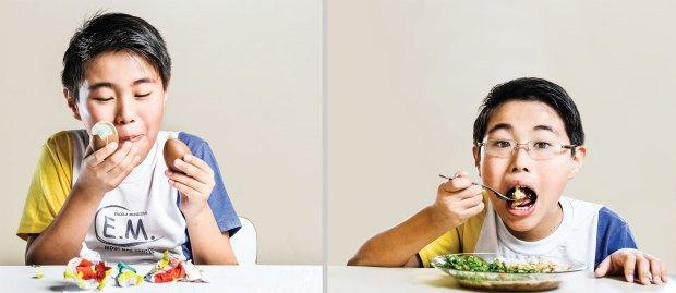Não é montagem: Davi Tadashi, 9 anos, passou a comer melhor ao estudar os alimentos. Fotos: Ramón Vasconcelos
