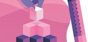 Ilustração com as cores rosa e roxo, aparece uma pilha de cubos e uma mão colocando o cubinho do topo, ao lado aparece um lápis