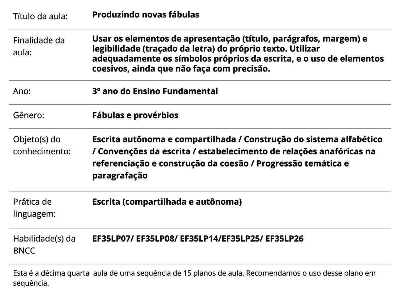 Plano De Aula 3º Ano Lingua Portuguesa Produzindo Novas Fabulas