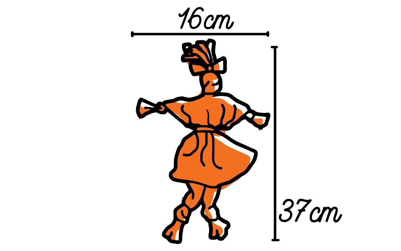 Ilustração com as medidas da boneca Abayomi
