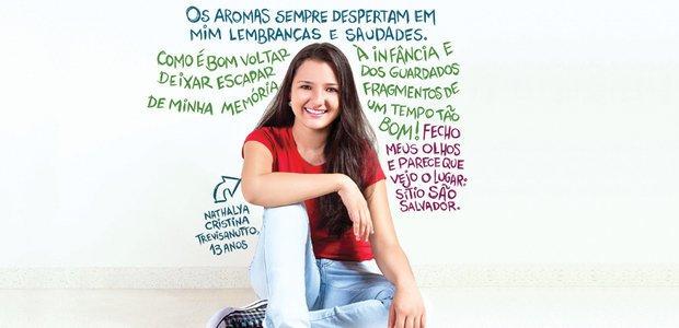 Nathalya e um trecho do texto premiado na Olimpíada de Língua Portuguesa. Foto: Rafael Silva. Ilustração Melissa Lagôa
