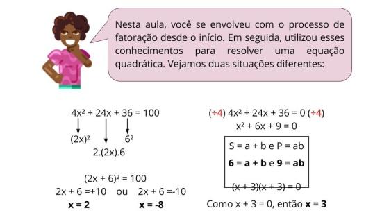 Resolvendo equações quadráticas por fatoração